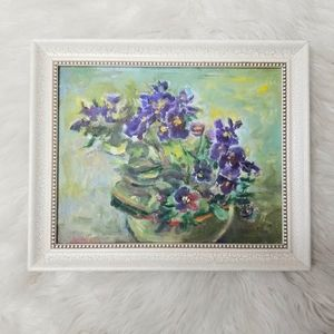 Art -small vintage oil painting, floral canvas